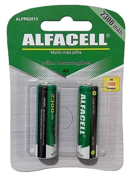 2 Pilhas Recarregáveis Aa Alfacell Tam Pequena 1,2v 2300mah