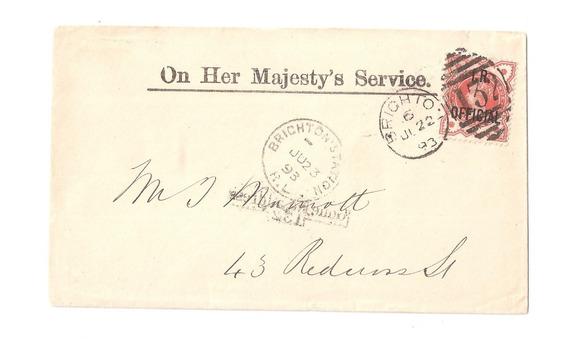 Grã Bretanha Antigo Envelope Oficial A Serviço Da Magestade