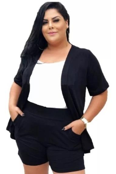 Conjunto Plus Size Shorts E Casaco Cardigan Feminino 2019