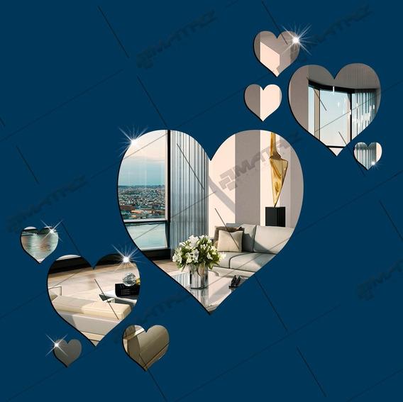 Espelhos Decorativos - Kit Corações 9pçs -tam. Grande