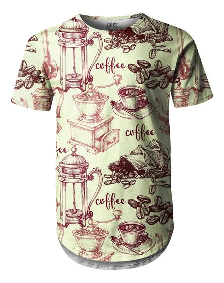 Camiseta Masculina Longline Swag Café Estampa Digital