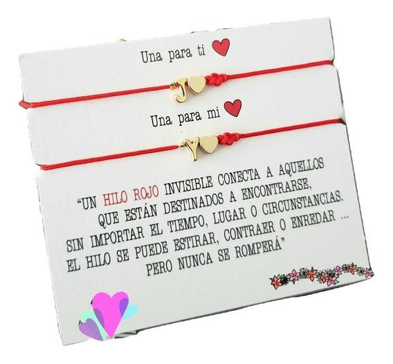 Set 2 Pulseras Hilo Rojo Inicial Corazon + Envio Gratis