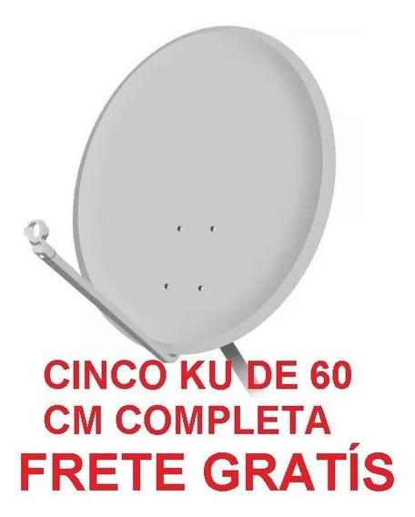 Cinco Antenas Ku 60 + Lnb + Cabo Frete Gratis