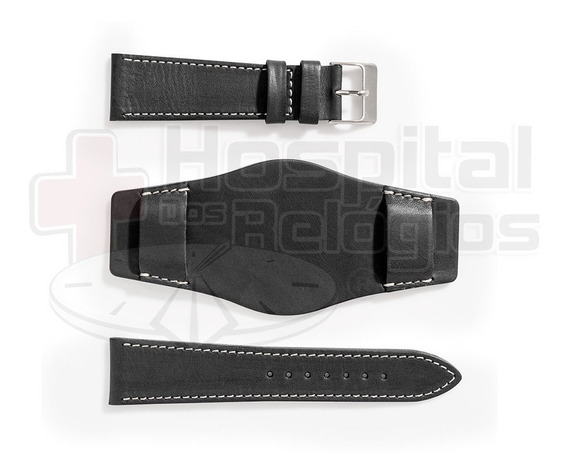Pulseira Bracelete Couro Preto Fosco Para Relógio 20mm