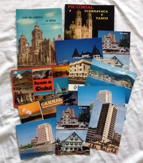 Lote De Postales Antiguas X 8 +4 Guia De Viaje +1 Cuader