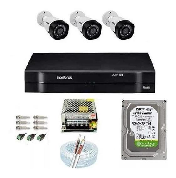 Kit Cftv 3 Câmeras Multi Hd 720p 1mp Dvr Intelbras Mhdx 1104