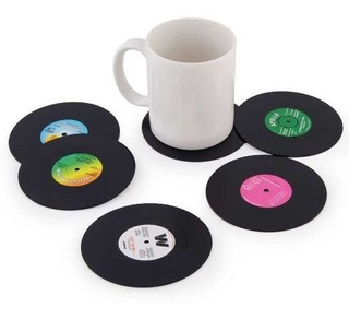 Posa Vasos Discos De Vinilo Retro 2 Unidades Plastico Musica
