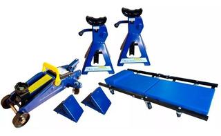 Gato Crique Hidraulico Con Kit Para Taller Caballetes Kld