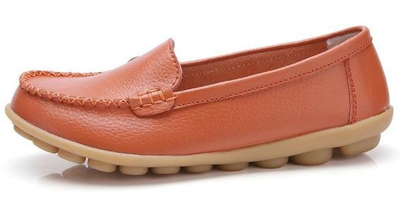 Sapatos De Viagem Couro Das Mulheres Selvagem Condução Fla
