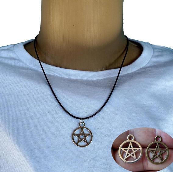 Colar Pentagrama Bronze Ou Prata Frete Grátis