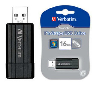 Pendrive 16gb Retractil Negro Verbatim 2.0 Pinstripe Usb
