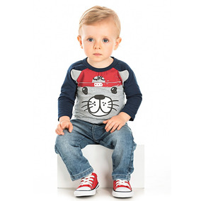 Camiseta Bebê Masculino Manga Longa Serelepe Gatinho P M G