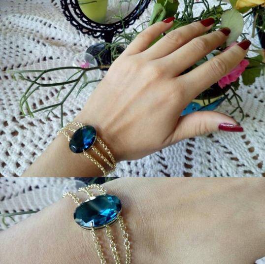Pulseira Pedra Azul Com Correntes! Semi Jóia Linda!