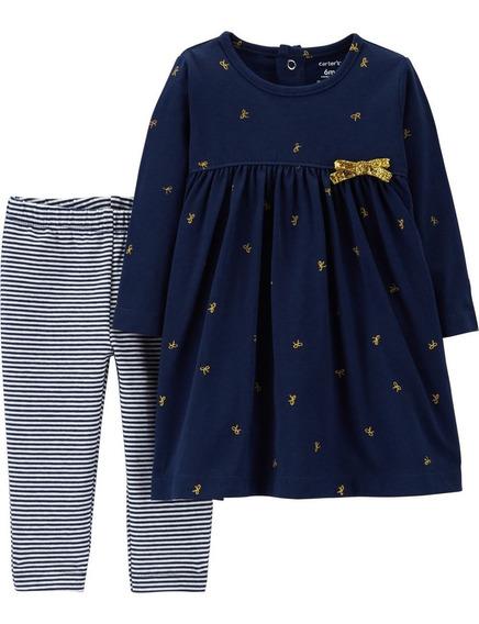 Carters Set 2 Piezas Vestido Y Calzas Bebé Nenas