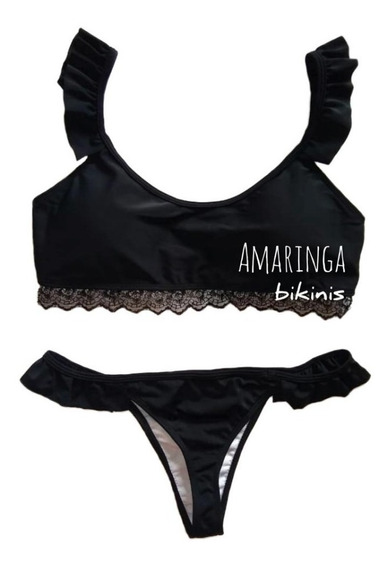 Bikini Encaje Taza Desmontable Y Colaless Con Volados Amaringa