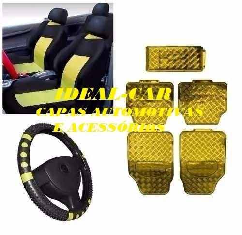 Kit Amarelo Capa Banco Carro+tapete+volante Premio 87 88 89