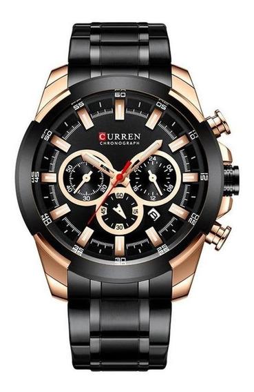 Relógio Masculino Curren 8361 Preto Aço Inoxidável Com Nota