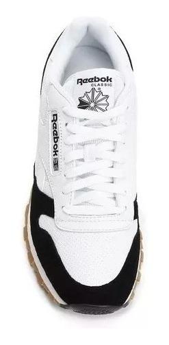 Tênis Reebok Original Classic Leather Branco E Preto Usado