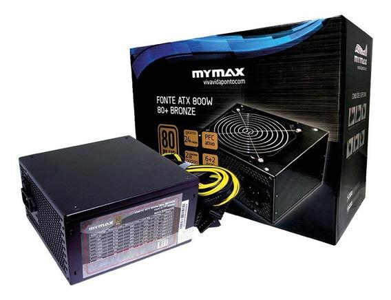 Kit 2 Fontes Atx Mymax 800w 80 Plus Silver Pfc Ativo Fp-850w