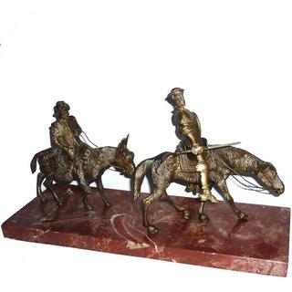 Figuras De Bronce El Quijote Y Sancho Panza,base Mármol