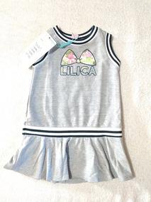 Vestido Lilica Ripilica Bebê Original - Cinza, Branco, Azul