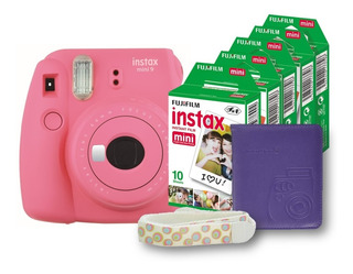 Paquete Instax Mini 9 Flamingo + Álbum + Correa + 50 Fotos