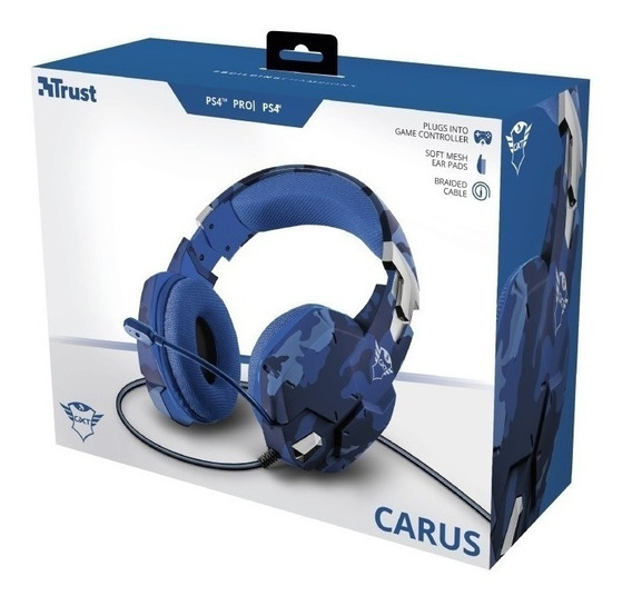 Auricular Gamer Carus Ps4 Pro Ps4 Trust Gxt 322b Blue Camo