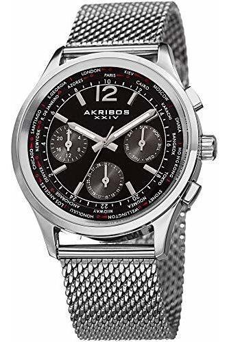 Akribos Ak716 - Reloj Cronógrafo Multifunción De Acero Inoxi