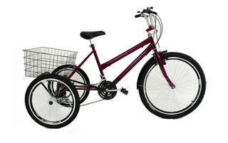 Bicicleta Triciclo Luxo Aro 26 Completo Com 21v Freio Disco