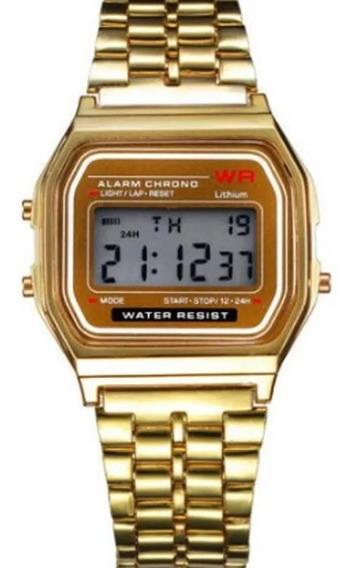 Desconto No Relógio Masculino E Feminino Dourado