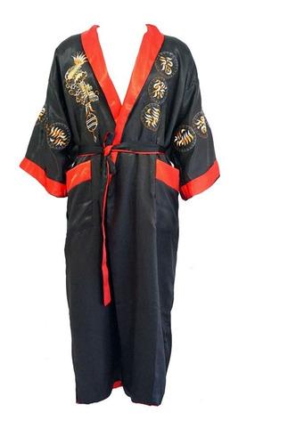 Imagen 1 de 4 de Kimono Bata Dragon Seda Hombre Color Negro Rojo Reversible