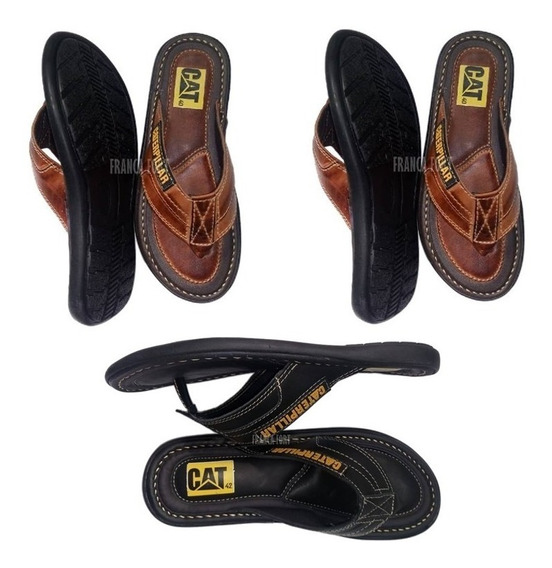 Caterpillar Kit 3 Pares Chinelo Couro Promoçao So Hoje