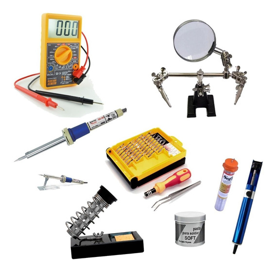 Kit Ferramentas Para Eletrônica Solda Lupa Multímetro Precis