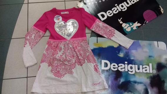 Vestido Desigual Niña Blondie Rosa 5/6 A 13/14 Años Oferta V