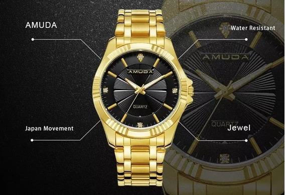 Relógio Masculino Dourado Analógico Prova D