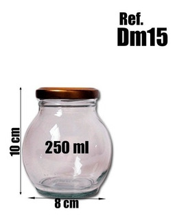 Botella Frasco De Vidrio Con Tapa Metálica Mermeladas