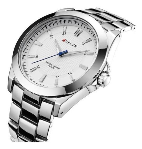 Relógio Masculino Prata Luxo A Prova D Água Promoção Barato