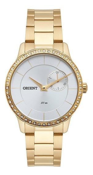 Relogio Feminino Dourado Orient Com Pedras Fgssm058 S1kx