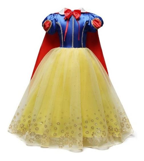 Vestido Infantil Princesa Branca De Neve Longo