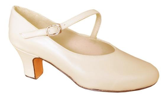 Zapato De Folklore Profesional Piel - Español Danza - Cuero