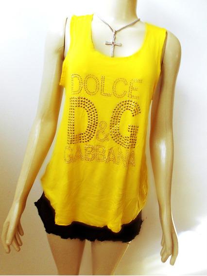 Regata De Malha Amarela Fashion