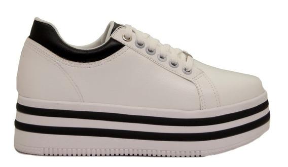 Zapatillas Mujer Cuero Ecológico Blanco Base Alta Bicolor