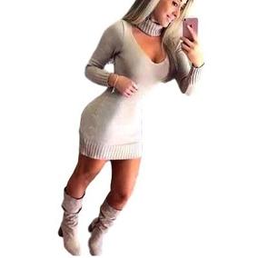 Vestido Tricot Mini-vest Gola Alta Tecido Grosso. Ref:297