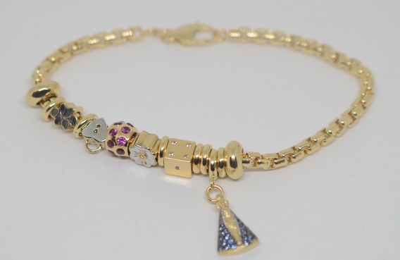Pulseira Tipo Pandora Ouro 18k 750 Nossa Senhora Aparecida