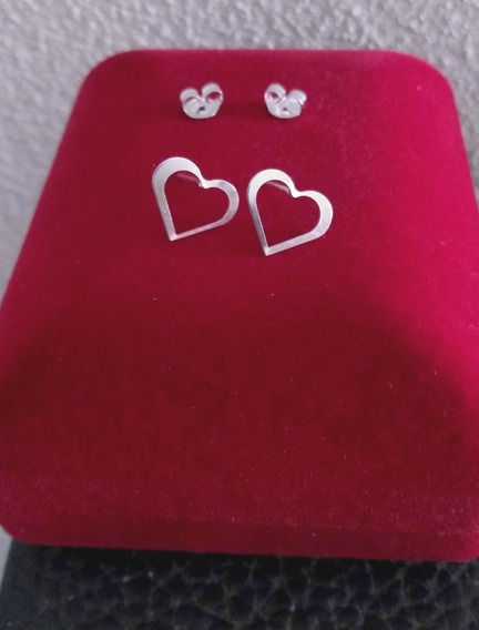 Par De Brinco Prata 925 Coração Vazado Feminino Lindo Luxo