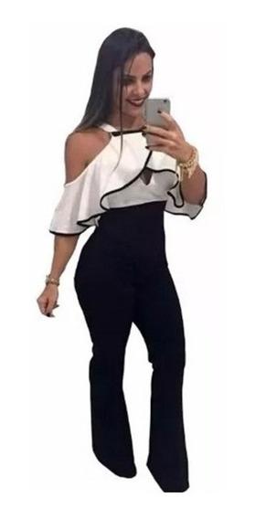 Macacão Flare Feminino Com Bojo Macaquinho 2019 Moda Babado