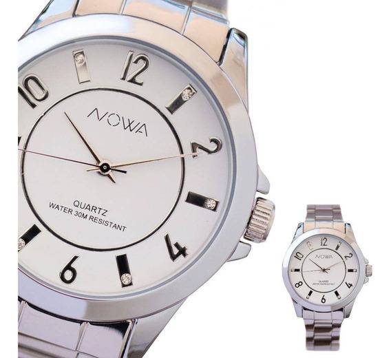 Relógio Feminino Nowa Prata Nw2019k Com Kit Dourado Colar E Brinco