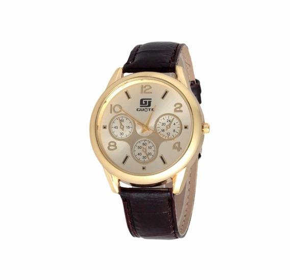 Relógio Para Homem De Pulso Dourado Com Pulseira Preto