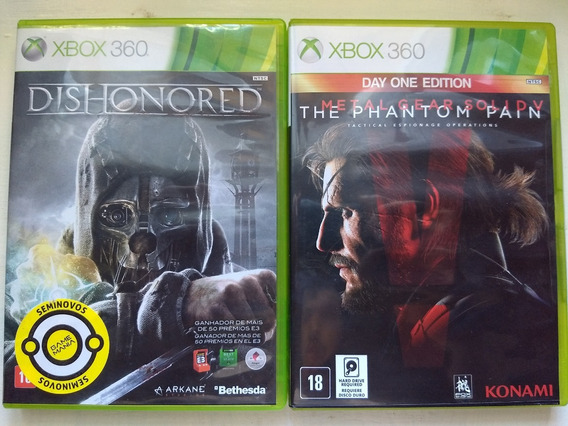 Kit Jogos Xbox 360 Metal Gear Solid V+dishonored Semi-novo