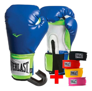 Kit Guante Boxeo Everlast +vendas + Protector Bucal Mvdsport
